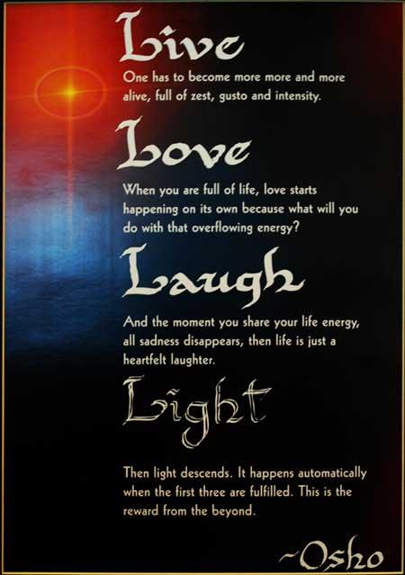 Мантра Ошо: жизнь, любовь, смех.